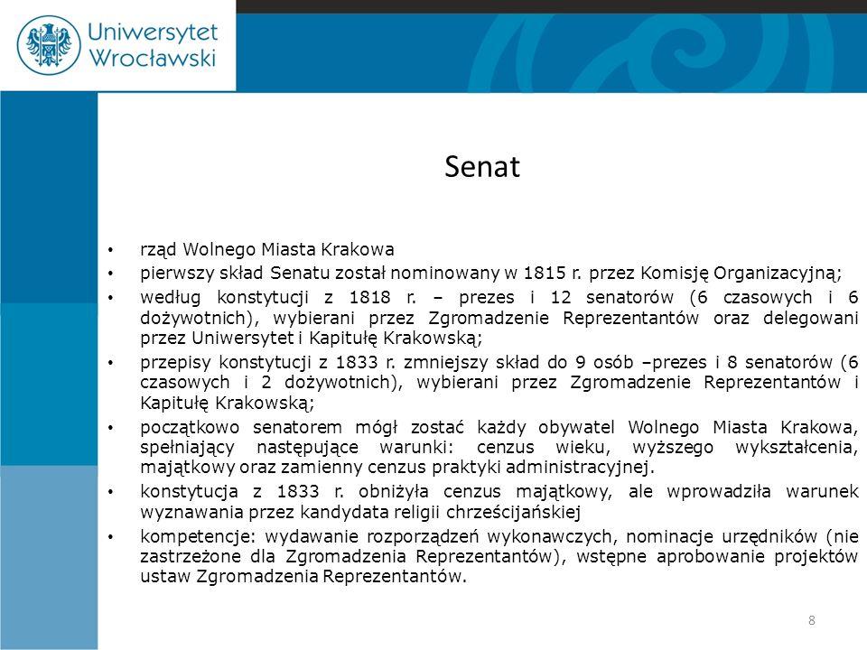 Senat rząd Wolnego Miasta Krakowa pierwszy skład Senatu został nominowany w 1815 r. przez Komisję Organizacyjną; według konstytucji z 1818 r. – prezes