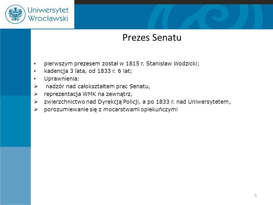 Prezes Senatu pierwszym prezesem został w 1815 r. Stanisław Wodzicki; kadencja 3 lata, od 1833 r. 6 lat; Uprawnienia:  nadzór nad całokształtem prac