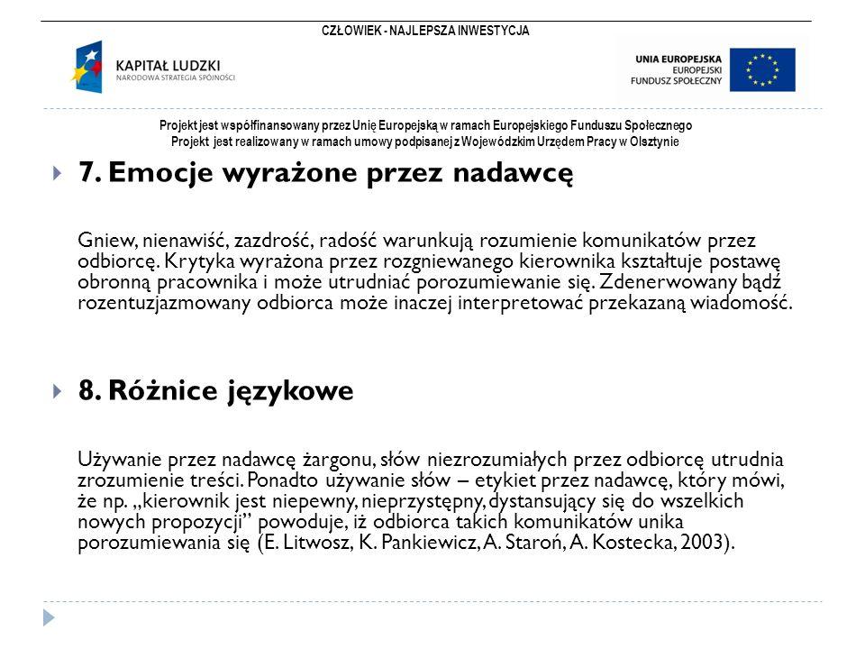 CZŁOWIEK - NAJLEPSZA INWESTYCJA Projekt jest współfinansowany przez Unię Europejską w ramach Europejskiego Funduszu Społecznego Projekt jest realizowany w ramach umowy podpisanej z Wojewódzkim Urzędem Pracy w Olsztynie  7.
