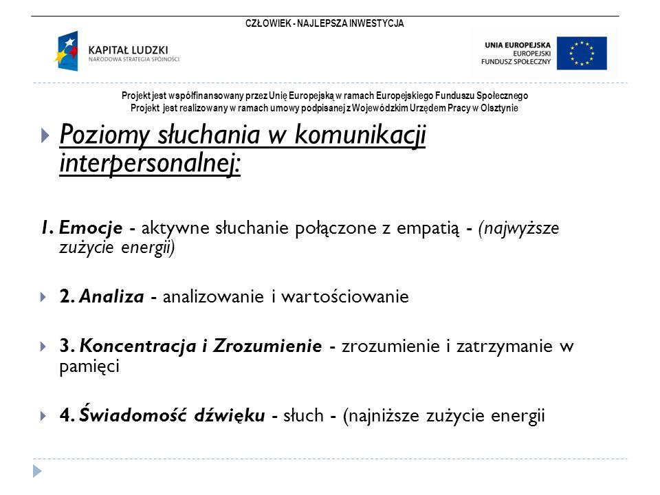 CZŁOWIEK - NAJLEPSZA INWESTYCJA Projekt jest współfinansowany przez Unię Europejską w ramach Europejskiego Funduszu Społecznego Projekt jest realizowany w ramach umowy podpisanej z Wojewódzkim Urzędem Pracy w Olsztynie  Poziomy słuchania w komunikacji interpersonalnej: 1.
