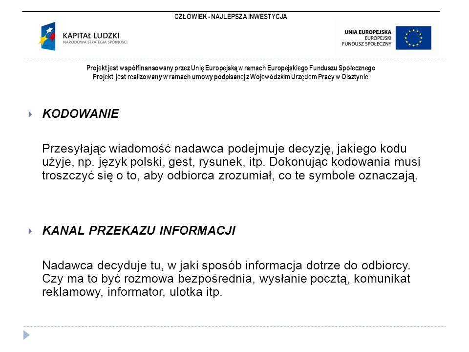 CZŁOWIEK - NAJLEPSZA INWESTYCJA Projekt jest współfinansowany przez Unię Europejską w ramach Europejskiego Funduszu Społecznego Projekt jest realizowany w ramach umowy podpisanej z Wojewódzkim Urzędem Pracy w Olsztynie  KODOWANIE Przesyłając wiadomość nadawca podejmuje decyzję, jakiego kodu użyje, np.