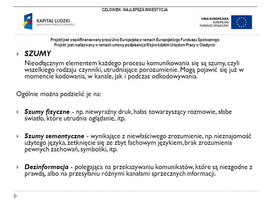 CZŁOWIEK - NAJLEPSZA INWESTYCJA Projekt jest współfinansowany przez Unię Europejską w ramach Europejskiego Funduszu Społecznego Projekt jest realizowany w ramach umowy podpisanej z Wojewódzkim Urzędem Pracy w Olsztynie  SZUMY Nieodłącznym elementem każdego procesu komunikowania się są szumy, czyli wszelkiego rodzaju czynniki, utrudniające porozumienie.