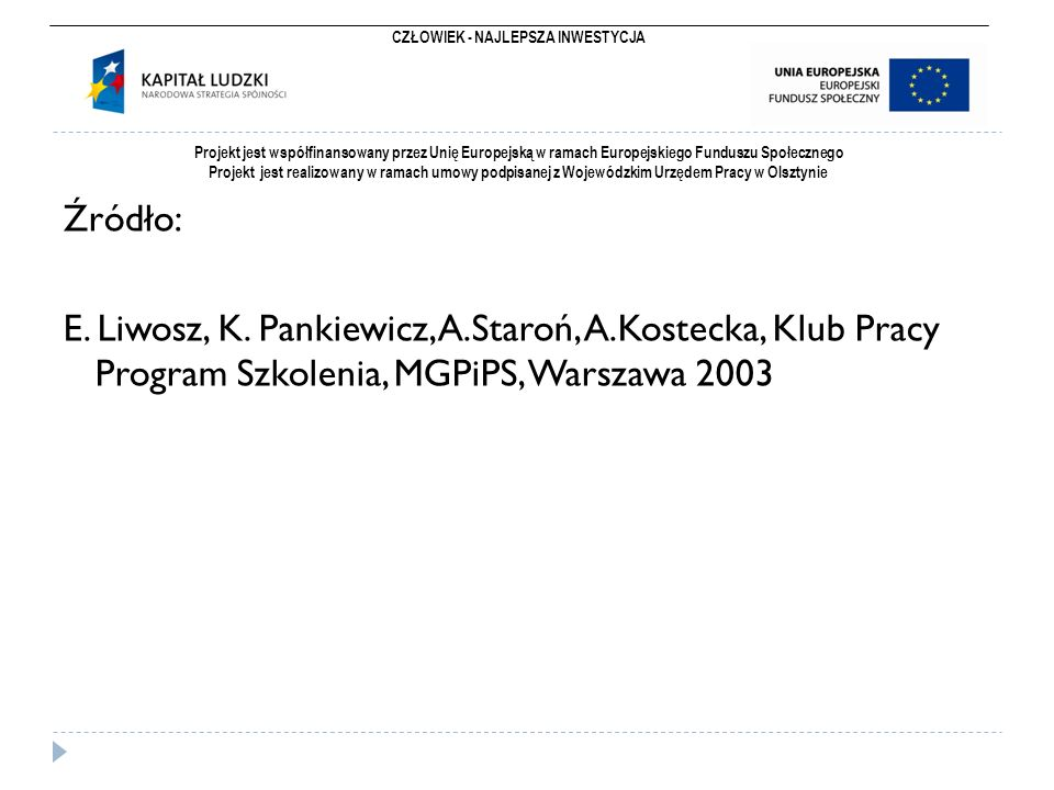 CZŁOWIEK - NAJLEPSZA INWESTYCJA Projekt jest współfinansowany przez Unię Europejską w ramach Europejskiego Funduszu Społecznego Projekt jest realizowany w ramach umowy podpisanej z Wojewódzkim Urzędem Pracy w Olsztynie Źródło: E.