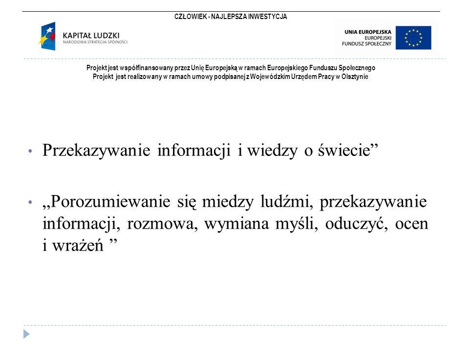 CZŁOWIEK - NAJLEPSZA INWESTYCJA Projekt jest współfinansowany przez Unię Europejską w ramach Europejskiego Funduszu Społecznego Projekt jest realizowany w ramach umowy podpisanej z Wojewódzkim Urzędem Pracy w Olsztynie  Są dwa podstawowe kody komunikacji: werbalny - informacje przekazywane przy użyciu języka niewerbalny - to informacje przekazywane za pomocą mimiki, gestów, ruchu, wyglądu itd.