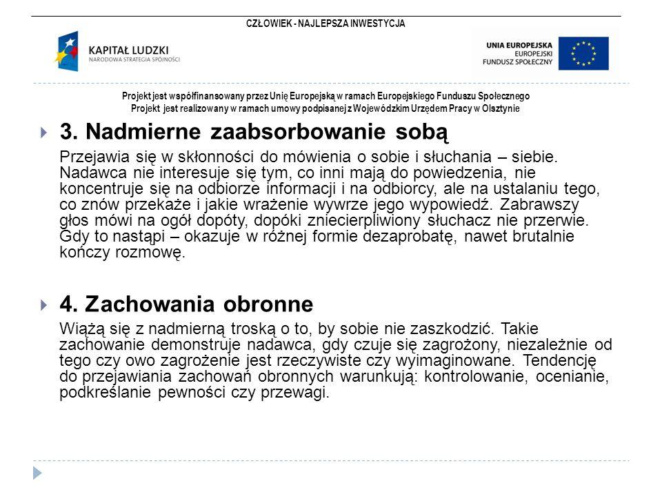 CZŁOWIEK - NAJLEPSZA INWESTYCJA Projekt jest współfinansowany przez Unię Europejską w ramach Europejskiego Funduszu Społecznego Projekt jest realizowany w ramach umowy podpisanej z Wojewódzkim Urzędem Pracy w Olsztynie  3.