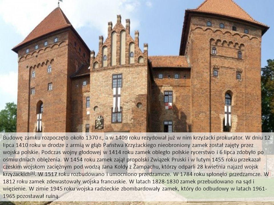 Zamek krzyżacki w Nidzicy Budowę zamku rozpoczęto około 1370 r., a w 1409 roku rezydował już w nim krzyżacki prokurator. W dniu 12 lipca 1410 roku w d