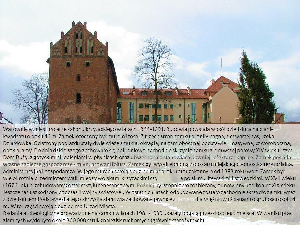 Zamek w Działdowie http://www.zamkipolskie.com/dzial/002.jpg Warownię wznieśli rycerze zakonu krzyżackiego w latach 1344-1391. Budowla powstała wokół