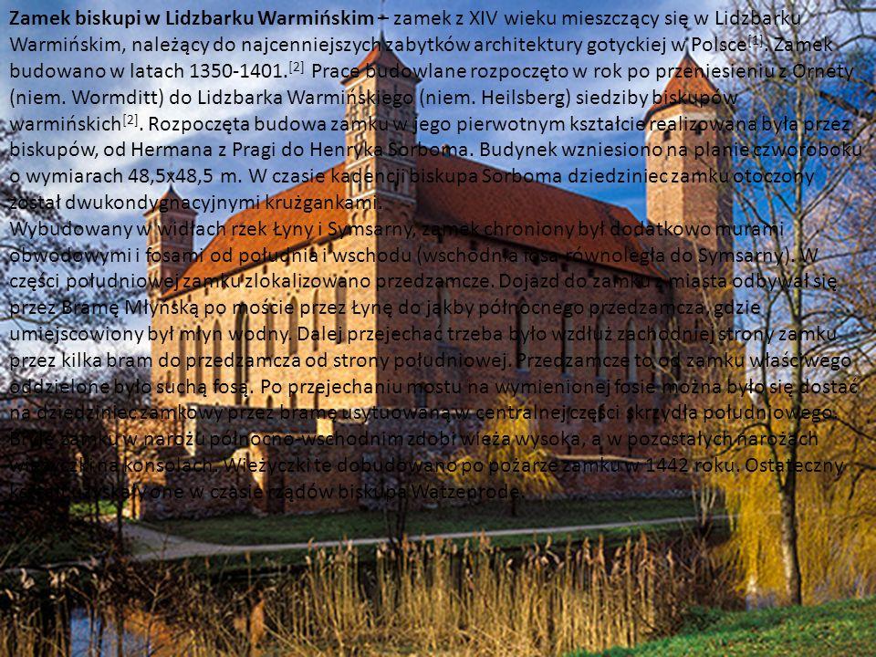 http://www.zamkipolskie.com/dzial/002.jpg Zamek biskupi w Lidzbarku Warmińskim – zamek z XIV wieku mieszczący się w Lidzbarku Warmińskim, należący do