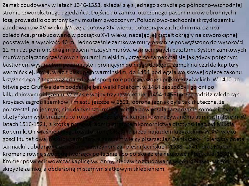 http://www.zamkipolskie.com/dzial/002.jpg Zamek zbudowany w latach 1346-1353, składał się z jednego skrzydła po północno-wschodniej stronie czworokątn