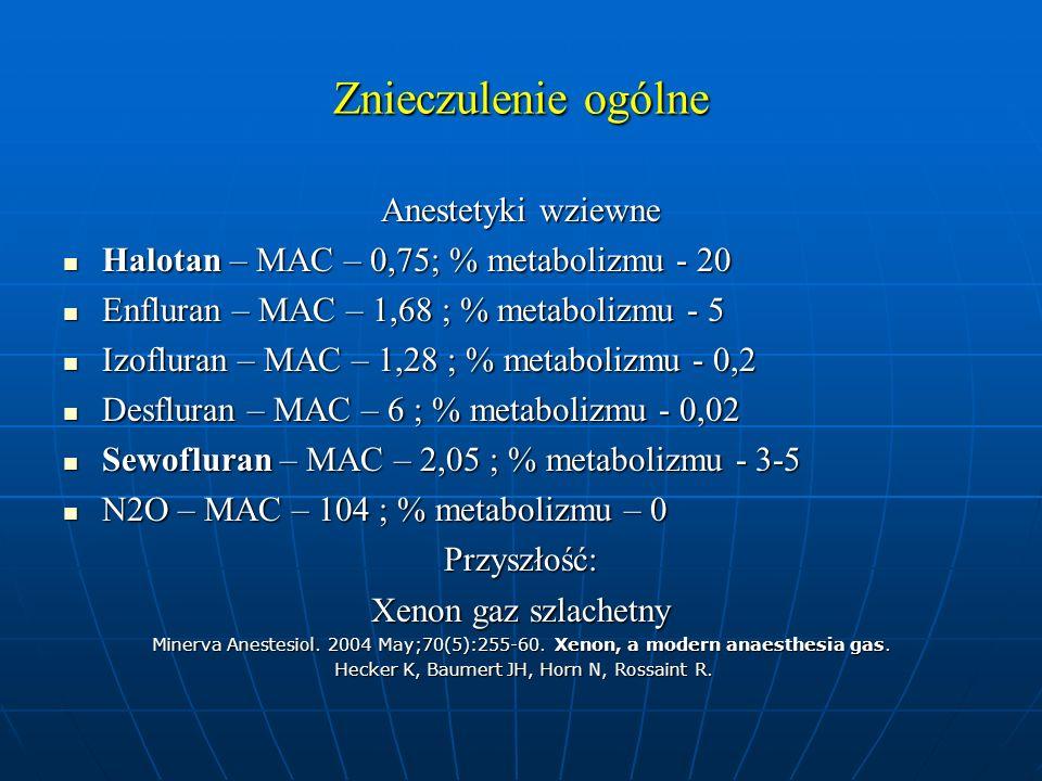 Znieczulenie ogólne Anestetyki wziewne Halotan – MAC – 0,75; % metabolizmu - 20 Halotan – MAC – 0,75; % metabolizmu - 20 Enfluran – MAC – 1,68 ; % met