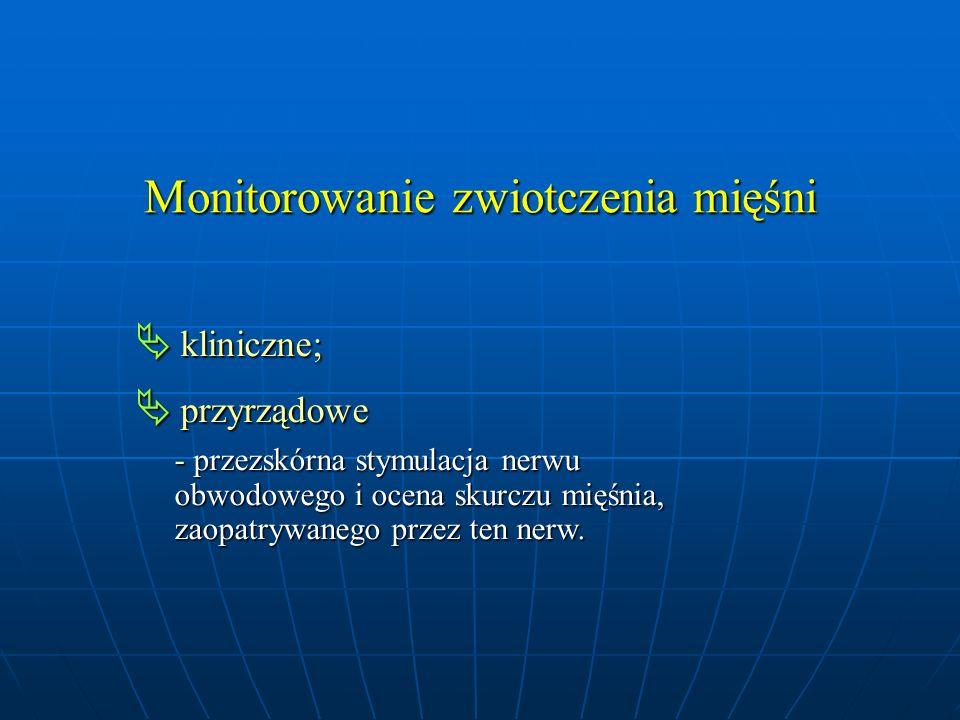 Monitorowanie zwiotczenia mięśni  kliniczne;  przyrządowe - przezskórna stymulacja nerwu - przezskórna stymulacja nerwu obwodowego i ocena skurczu m