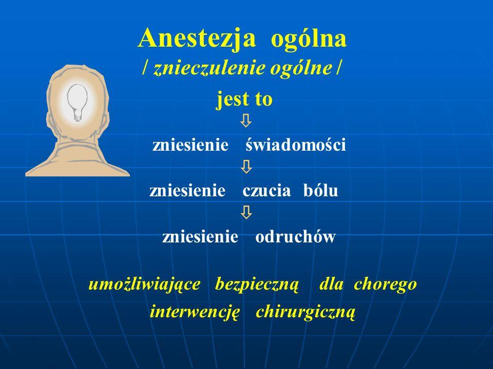 umożliwiające bezpieczną dla chorego interwencję chirurgiczną Anestezja ogólna / znieczulenie ogólne / jest to  zniesienie świadomości  zniesienie c