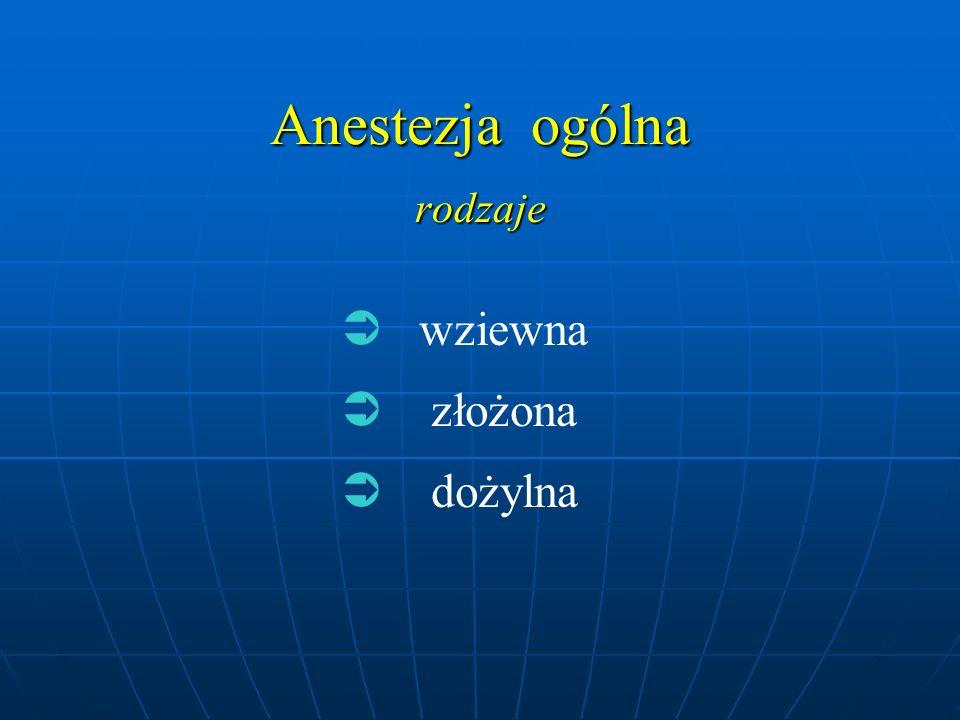  wziewna  złożona  dożylna Anestezja ogólna rodzaje