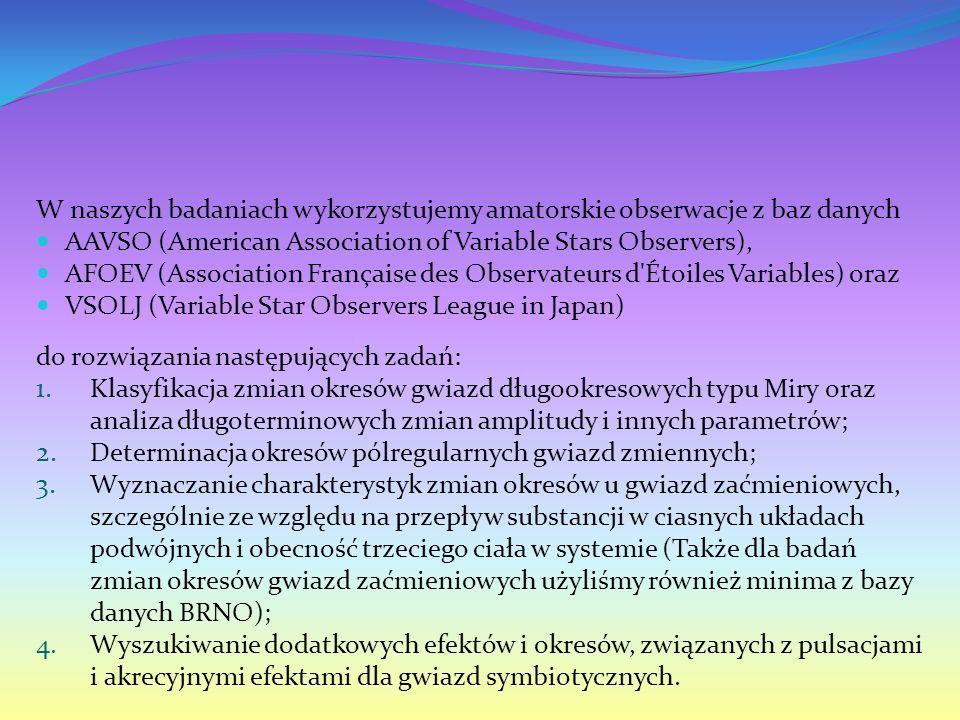 W naszych badaniach wykorzystujemy amatorskie obserwacje z baz danych AAVSO (American Association of Variable Stars Observers), AFOEV (Association Française des Observateurs d Étoiles Variables) oraz VSOLJ (Variable Star Observers League in Japan) do rozwiązania następujących zadań: 1.