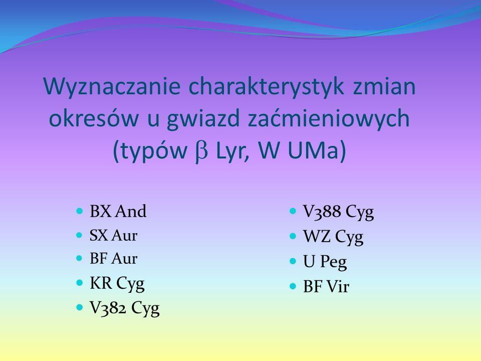 Wyznaczanie charakterystyk zmian okresów u gwiazd zaćmieniowych (typów  Lyr, W UMa) BX And SX Aur BF Aur KR Cyg V382 Cyg V388 Cyg WZ Cyg U Peg BF Vir