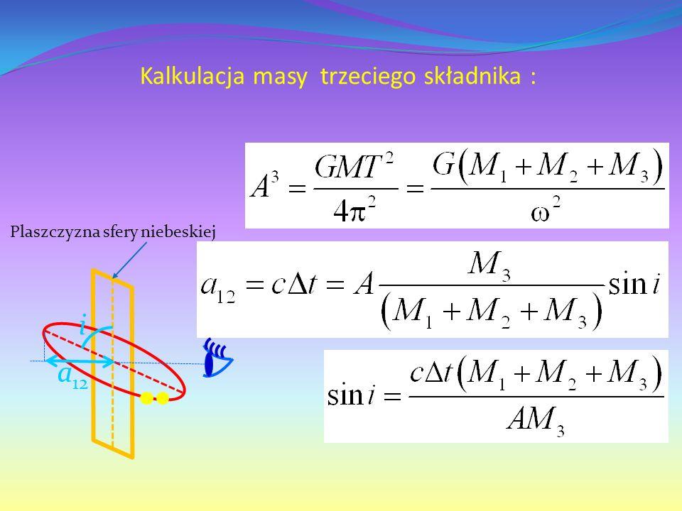 Kalkulacja masy trzeciego składnika : i a 12 Plaszczyzna sfery niebeskiej
