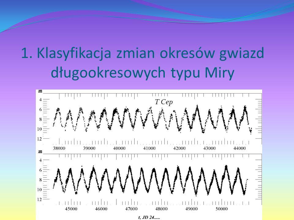 1. Klasyfikacja zmian okresów gwiazd długookresowych typu Miry T Cep
