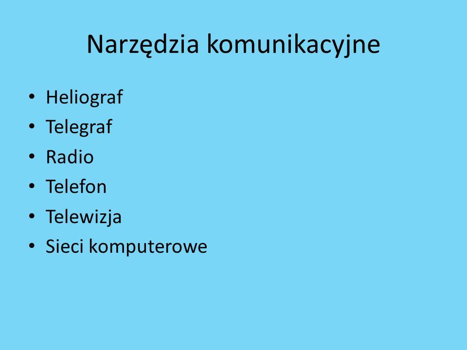 Narzędzia komunikacyjne Heliograf Telegraf Radio Telefon Telewizja Sieci komputerowe
