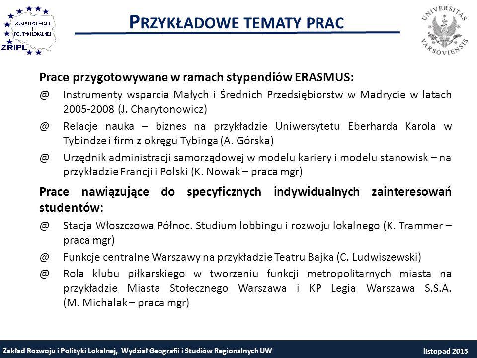 P RZYKŁADOWE TEMATY PRAC Zakład Rozwoju i Polityki Lokalnej, Wydział Geografii i Studiów Regionalnych UW Prace przygotowywane w ramach stypendiów ERAS