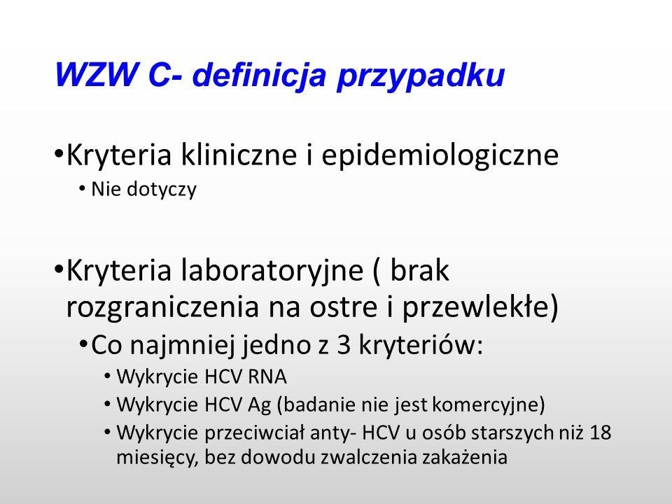 WZW C- definicja przypadku Kryteria kliniczne i epidemiologiczne Nie dotyczy Kryteria laboratoryjne ( brak rozgraniczenia na ostre i przewlekłe) Co najmniej jedno z 3 kryteriów: Wykrycie HCV RNA Wykrycie HCV Ag (badanie nie jest komercyjne) Wykrycie przeciwciał anty- HCV u osób starszych niż 18 miesięcy, bez dowodu zwalczenia zakażenia