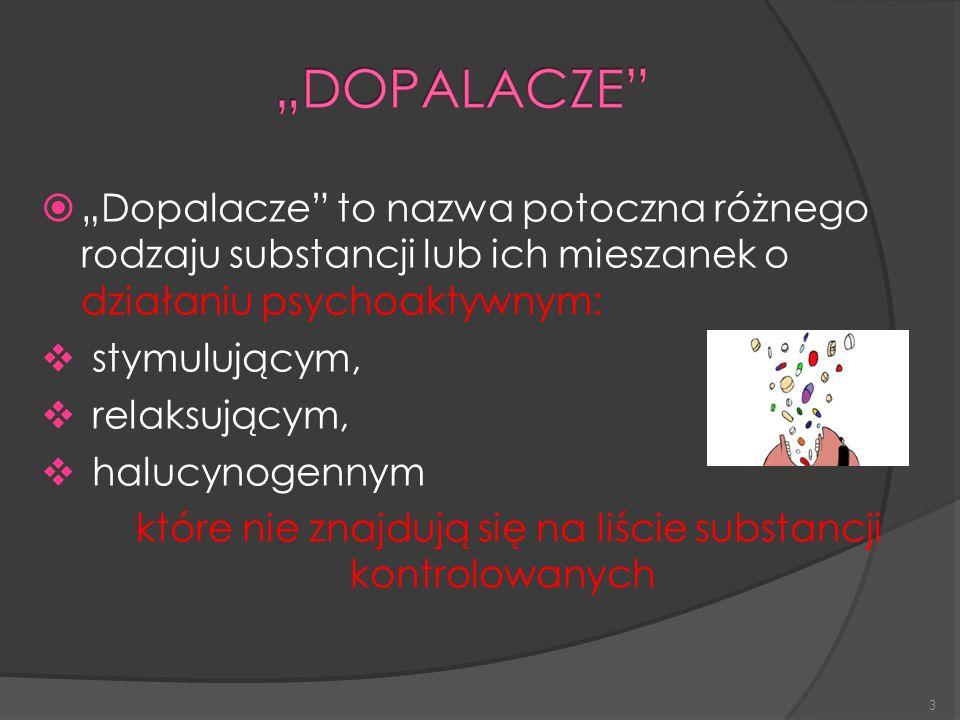 """3  """"Dopalacze to nazwa potoczna różnego rodzaju substancji lub ich mieszanek o działaniu psychoaktywnym:  stymulującym,  relaksującym,  halucynogennym które nie znajdują się na liście substancji kontrolowanych"""