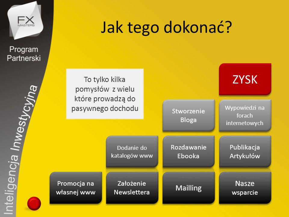 Jak tego dokonać? Promocja na własnej www Założenie Newslettera Mailling Nasze wsparcie Wypowiedzi na forach internetowych Stworzenie Bloga ZYSK To ty
