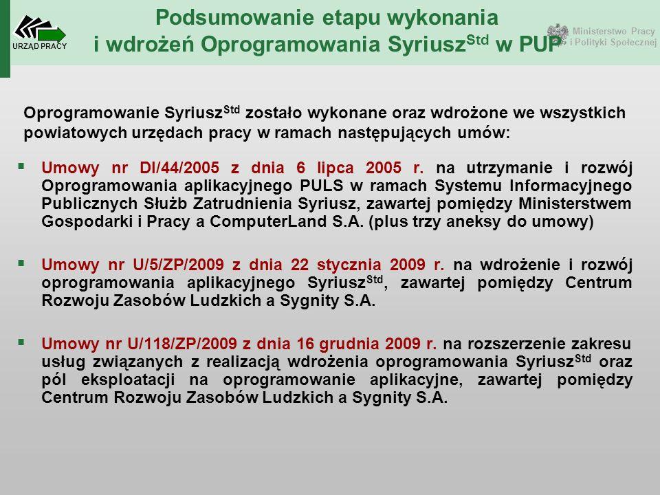  Umowy nr DI/44/2005 z dnia 6 lipca 2005 r. na utrzymanie i rozwój Oprogramowania aplikacyjnego PULS w ramach Systemu Informacyjnego Publicznych Służ