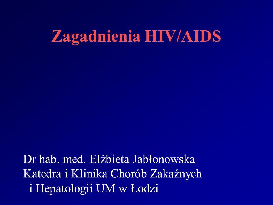 WSKAZANIA DO LECZENIA ANTYRETROWIRUSOWEGO Pierwotne zakażenie HIV (ostra choroba retrowirusowa) Klinicznie istotne obniżenie się odporności Ciąża (ze względu na płód) Profilaktyka poekspozycyjna