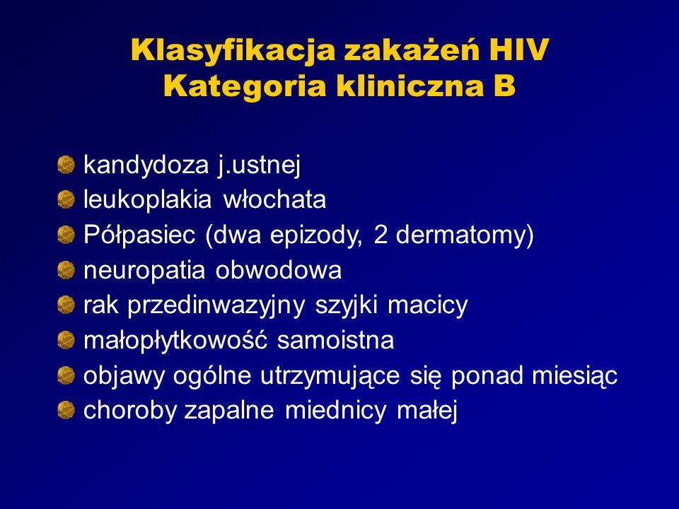 Klasyfikacja zakażeń HIV Kategoria kliniczna B kandydoza j.ustnej leukoplakia włochata Półpasiec (dwa epizody, 2 dermatomy) neuropatia obwodowa rak przedinwazyjny szyjki macicy małopłytkowość samoistna objawy ogólne utrzymujące się ponad miesiąc choroby zapalne miednicy małej