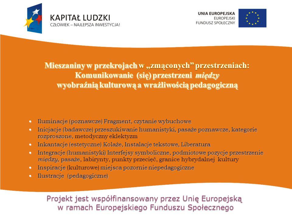 Projekt jest współfinansowany przez Unię Europejską w ramach Europejskiego Funduszu Społecznego Iluminacje (poznawcze) Fragment, czytanie wybuchowe Iluminacje (poznawcze) Fragment, czytanie wybuchowe Inicjacje (badawcze) przeszukiwanie humanistyki, pasaże poznawcze, kategorie rozproszone, Inicjacje (badawcze) przeszukiwanie humanistyki, pasaże poznawcze, kategorie rozproszone, metodyczny eklektyzm Inkantacje (estetyczne) Kolaże, Instalacje tekstowe, Liberatura Inkantacje (estetyczne) Kolaże, Instalacje tekstowe, Liberatura Integracje (humanistyki) Interfejsy symboliczne, podmiotowe pozycje przestrzenie między, pasaże Integracje (humanistyki) Interfejsy symboliczne, podmiotowe pozycje przestrzenie między, pasaże, labirynty, punkty przecięć, granice hybrydalnej kultury Inspiracje miejsca pozornie niepedagogiczne Inspiracje (kulturowe) miejsca pozornie niepedagogiczne Ilustracje (pedagogiczne) Ilustracje (pedagogiczne)