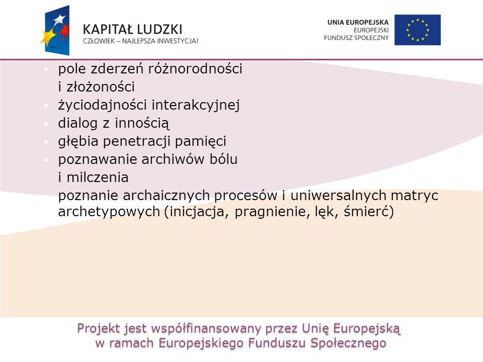 Projekt jest współfinansowany przez Unię Europejską w ramach Europejskiego Funduszu Społecznego  pole zderzeń różnorodności i złożoności  życiodajności interakcyjnej  dialog z innością  głębia penetracji pamięci  poznawanie archiwów bólu i milczenia  poznanie archaicznych procesów i uniwersalnych matryc archetypowych (inicjacja, pragnienie, lęk, śmierć)