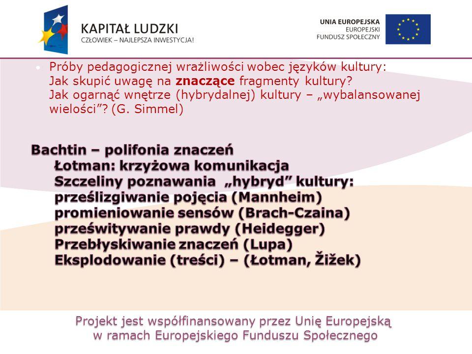 Projekt jest współfinansowany przez Unię Europejską w ramach Europejskiego Funduszu Społecznego Próby pedagogicznej wrażliwości wobec języków kultury: Jak skupić uwagę na znaczące fragmenty kultury.