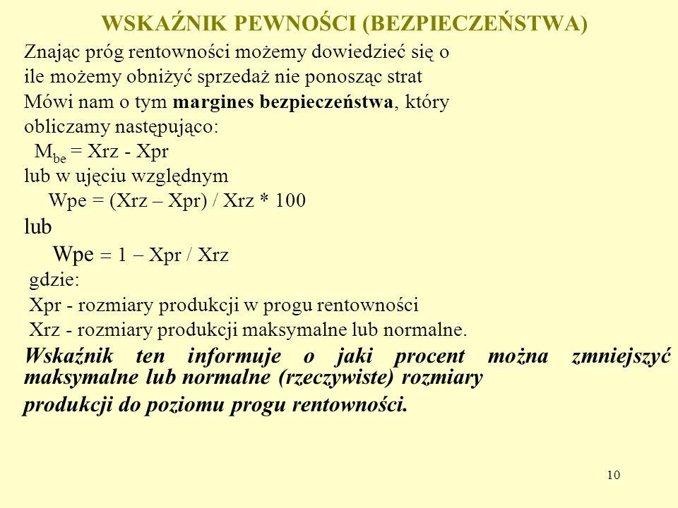 10 WSKAŹNIK PEWNOŚCI (BEZPIECZEŃSTWA) Znając próg rentowności możemy dowiedzieć się o ile możemy obniżyć sprzedaż nie ponosząc strat Mówi nam o tym margines bezpieczeństwa, który obliczamy następująco: M be = Xrz - Xpr lub w ujęciu względnym Wpe = (Xrz – Xpr) / Xrz * 100 lub Wpe  1  Xpr / Xrz gdzie: Xpr - rozmiary produkcji w progu rentowności Xrz - rozmiary produkcji maksymalne lub normalne.