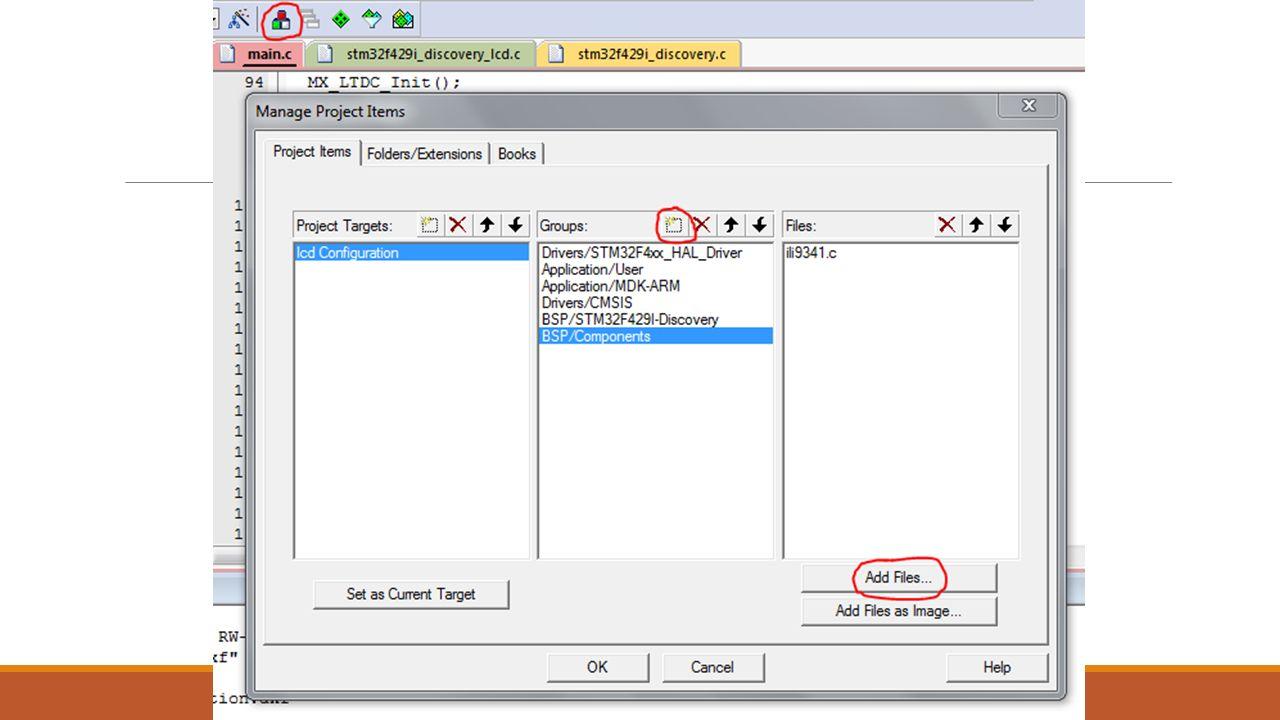 """Biblioteki do wyświetlacza Do katalogu BSP/Components dodajemy plik """"ili9341.c ze ścieżki: nazwaprojektu\Drivers\BSP\Components\ili9341 Do katalogu BSP/STM32F429I-Discovery dodajemy pliki """"stm32f429i_discovery.c , """"stm32f429i_discovery_lcd.c i """"stm32f429i_discovery_sdram.c ze ścieżki: nazwaprojektu\Drivers\BSP\STM32F429I-Discovery Żeby dodać plik należy zaznaczyć go kursorem myszy, kliknąć """"Add a następnie """"Close ."""