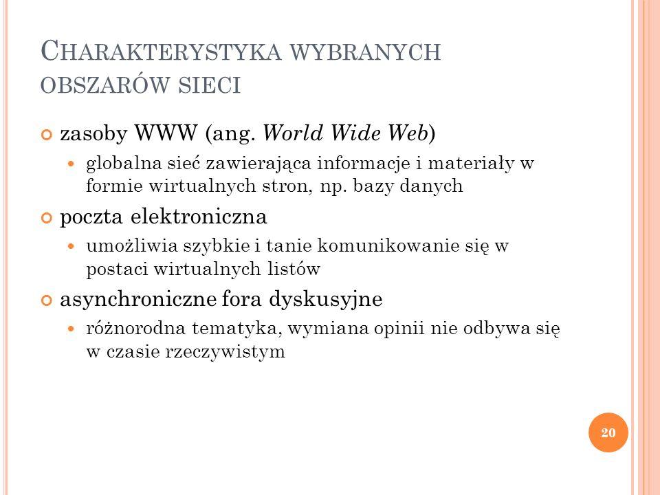 C HARAKTERYSTYKA WYBRANYCH OBSZARÓW SIECI zasoby WWW (ang. World Wide Web ) globalna sieć zawierająca informacje i materiały w formie wirtualnych stro