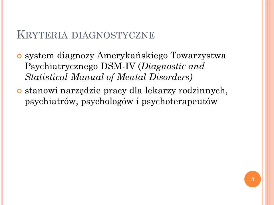 K RYTERIA DIAGNOSTYCZNE system diagnozy Amerykańskiego Towarzystwa Psychiatrycznego DSM-IV ( Diagnostic and Statistical Manual of Mental Disorders) st