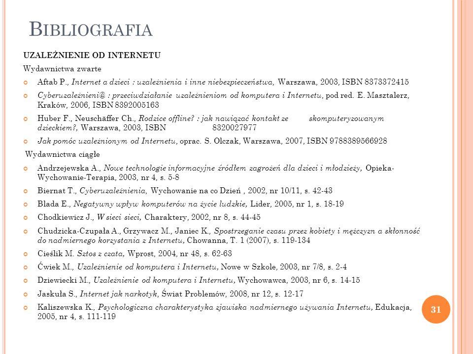 B IBLIOGRAFIA UZALEŻNIENIE OD INTERNETU Wydawnictwa zwarte Aftab P., Internet a dzieci : uzależnienia i inne niebezpieczeństwa, Warszawa, 2003, ISBN 8