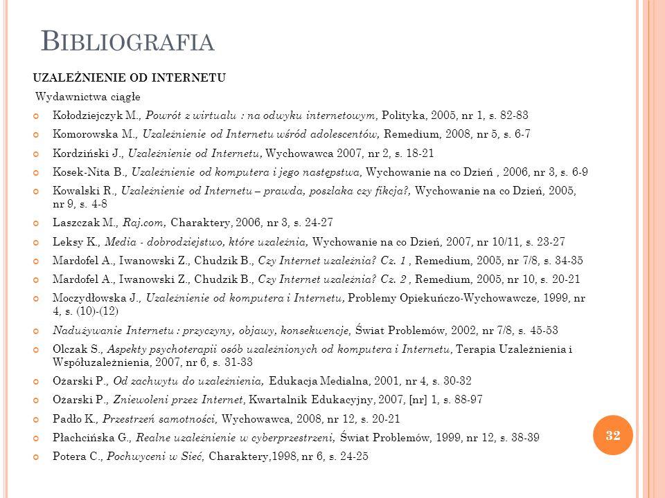 B IBLIOGRAFIA UZALEŻNIENIE OD INTERNETU Wydawnictwa ciągłe Kołodziejczyk M., Powrót z wirtualu : na odwyku internetowym, Polityka, 2005, nr 1, s. 82-8