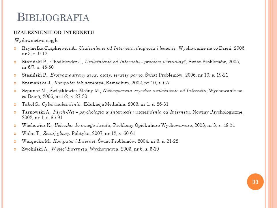 B IBLIOGRAFIA UZALEŻNIENIE OD INTERNETU Wydawnictwa ciągłe Rzymełka-Frąckiewicz A., Uzależnienie od Internetu: diagnoza i leczenie, Wychowanie na co D