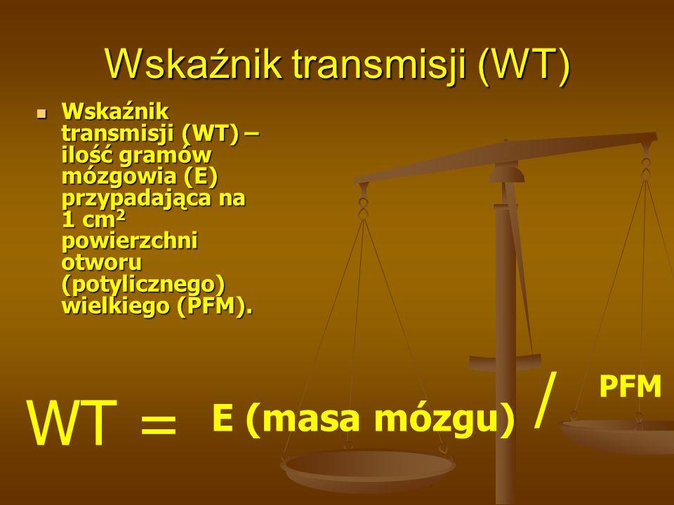 Wskaźnik transmisji (WT) Wskaźnik transmisji (WT) – ilość gramów mózgowia (E) przypadająca na 1 cm 2 powierzchni otworu (potylicznego) wielkiego (PFM)