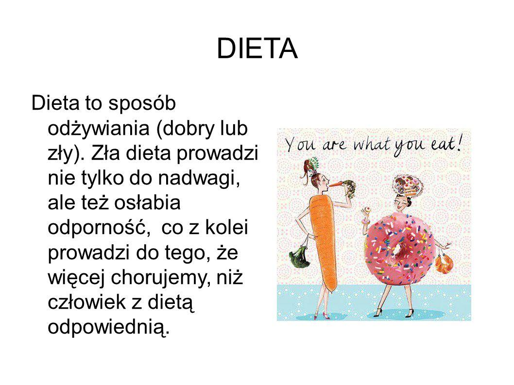 DIETA Dieta to sposób odżywiania (dobry lub zły). Zła dieta prowadzi nie tylko do nadwagi, ale też osłabia odporność, co z kolei prowadzi do tego, że