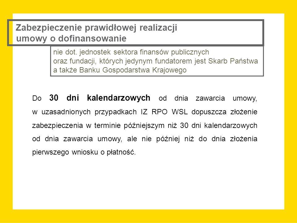 Do 30 dni kalendarzowych od dnia zawarcia umowy, w uzasadnionych przypadkach IZ RPO WSL dopuszcza złożenie zabezpieczenia w terminie późniejszym niż 3