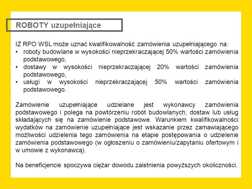 IZ RPO WSL może uznać kwalifikowalność zamówienia uzupełniającego na: roboty budowlane w wysokości nieprzekraczającej 50% wartości zamówienia podstawowego, dostawy w wysokości nieprzekraczającej 20% wartości zamówienia podstawowego, usługi w wysokości nieprzekraczającej 50% wartości zamówienia podstawowego.