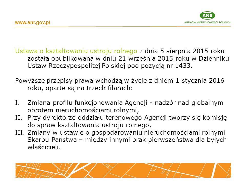 www.anr.gov.pl Ustawa o kształtowaniu ustroju rolnego z dnia 5 sierpnia 2015 roku została opublikowana w dniu 21 września 2015 roku w Dzienniku Ustaw Rzeczypospolitej Polskiej pod pozycją nr 1433.