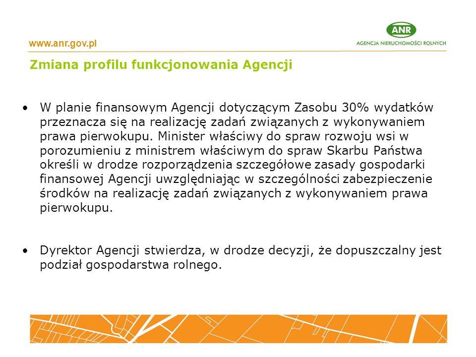 www.anr.gov.pl Zmiana profilu funkcjonowania Agencji W planie finansowym Agencji dotyczącym Zasobu 30% wydatków przeznacza się na realizację zadań związanych z wykonywaniem prawa pierwokupu.