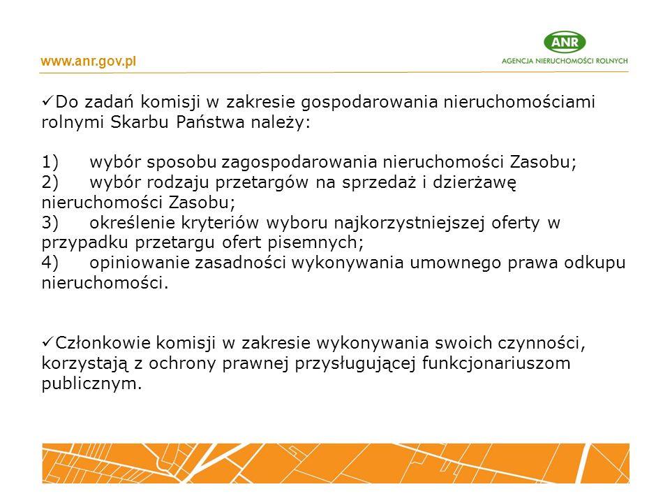 www.anr.gov.pl Do zadań komisji w zakresie gospodarowania nieruchomościami rolnymi Skarbu Państwa należy: 1) wybór sposobu zagospodarowania nieruchomo
