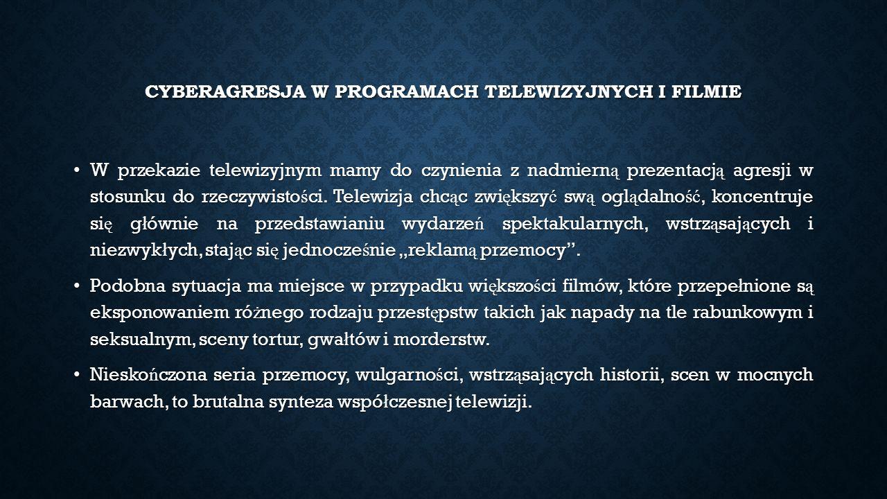 CYBERAGRESJA W PROGRAMACH TELEWIZYJNYCH I FILMIE W przekazie telewizyjnym mamy do czynienia z nadmiern ą prezentacj ą agresji w stosunku do rzeczywisto ś ci.