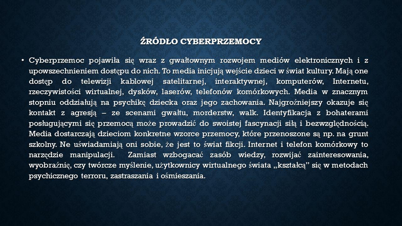 ŹRÓDŁO CYBERPRZEMOCY Cyberprzemoc pojawi ł a si ę wraz z gwa ł townym rozwojem mediów elektronicznych i z upowszechnieniem dost ę pu do nich.