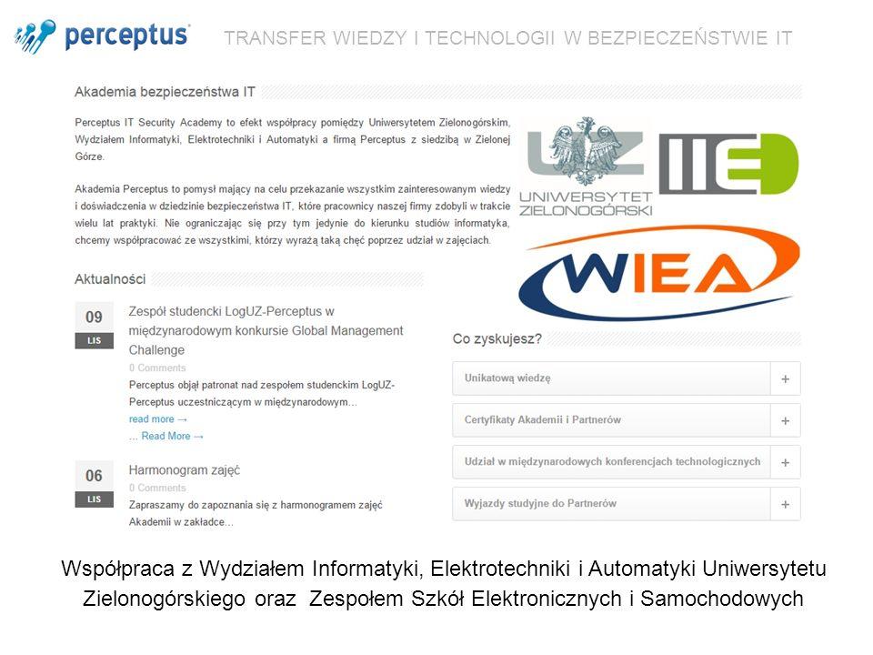 TRANSFER WIEDZY I TECHNOLOGII W BEZPIECZEŃSTWIE IT Współpraca z Wydziałem Informatyki, Elektrotechniki i Automatyki Uniwersytetu Zielonogórskiego oraz