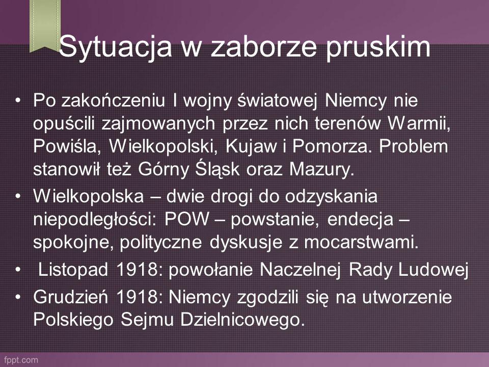 Sytuacja w zaborze pruskim Po zakończeniu I wojny światowej Niemcy nie opuścili zajmowanych przez nich terenów Warmii, Powiśla, Wielkopolski, Kujaw i